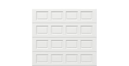 9 x 8 Traditional Steel Garage Door (Standard) white panels, no window