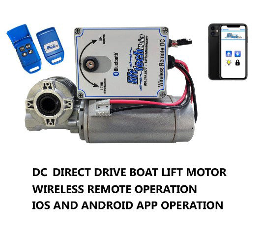 Boat Lift Motor DC 12V/24V Direct Drive (Wireless Remote & Bluetooth Mobile App) - Lift Marine