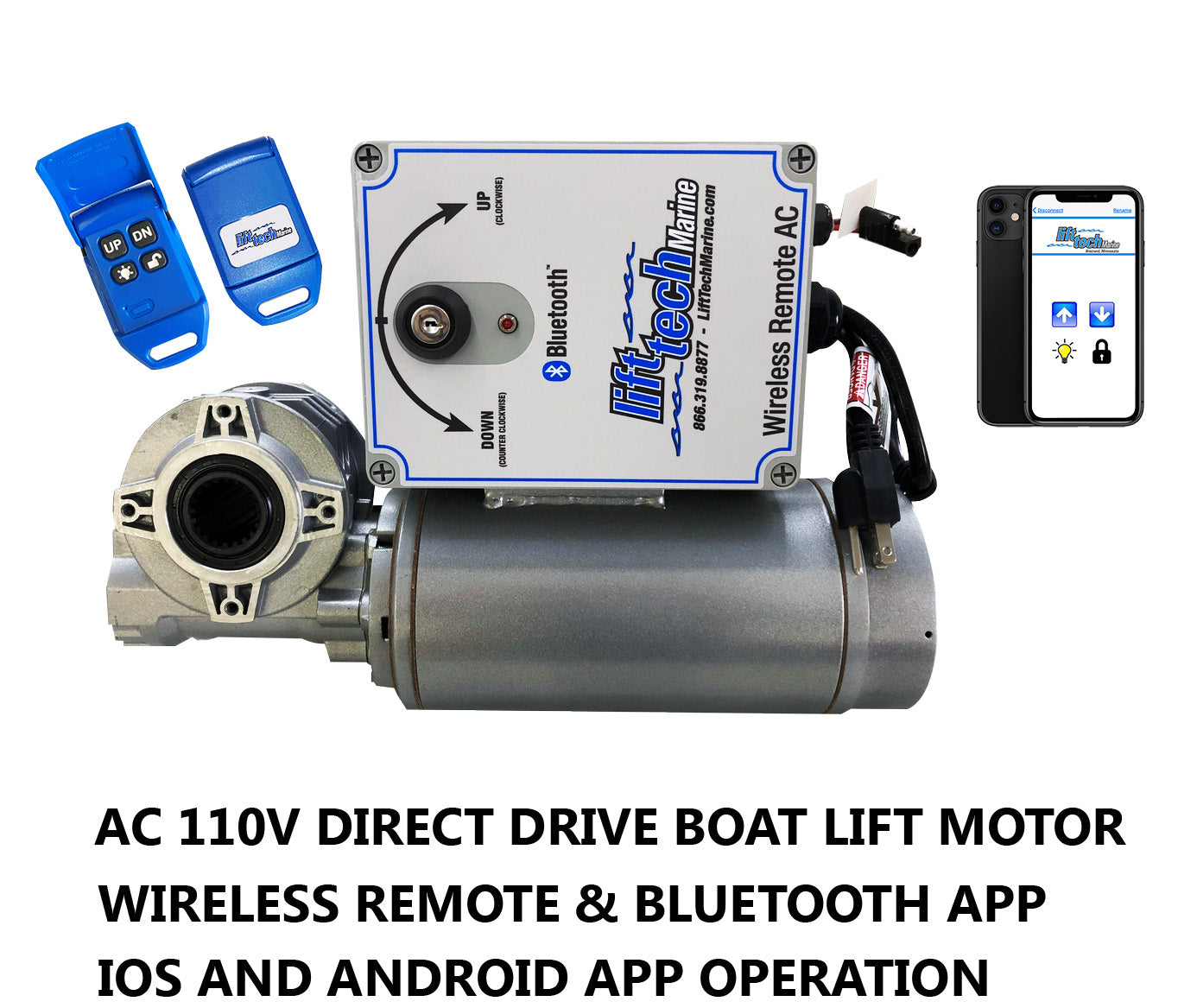 Boat Lift Motor AC 110V Direct Drive (Wireless Remote & Bluetooth Mobile App) - Lift Marine