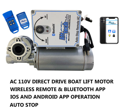 Boat Lift Motor AC 110V Direct Drive (Wireless Remote & Bluetooth Mobile App w/ Auto Stop) - Lift Marine