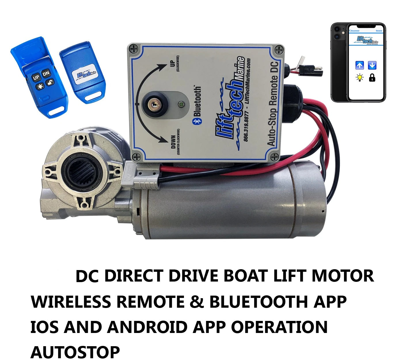 Boat Lift Motor DC 12V/24V Direct Drive (Wireless Remote & Bluetooth Mobile App w/ Auto Stop) - Lift Marine