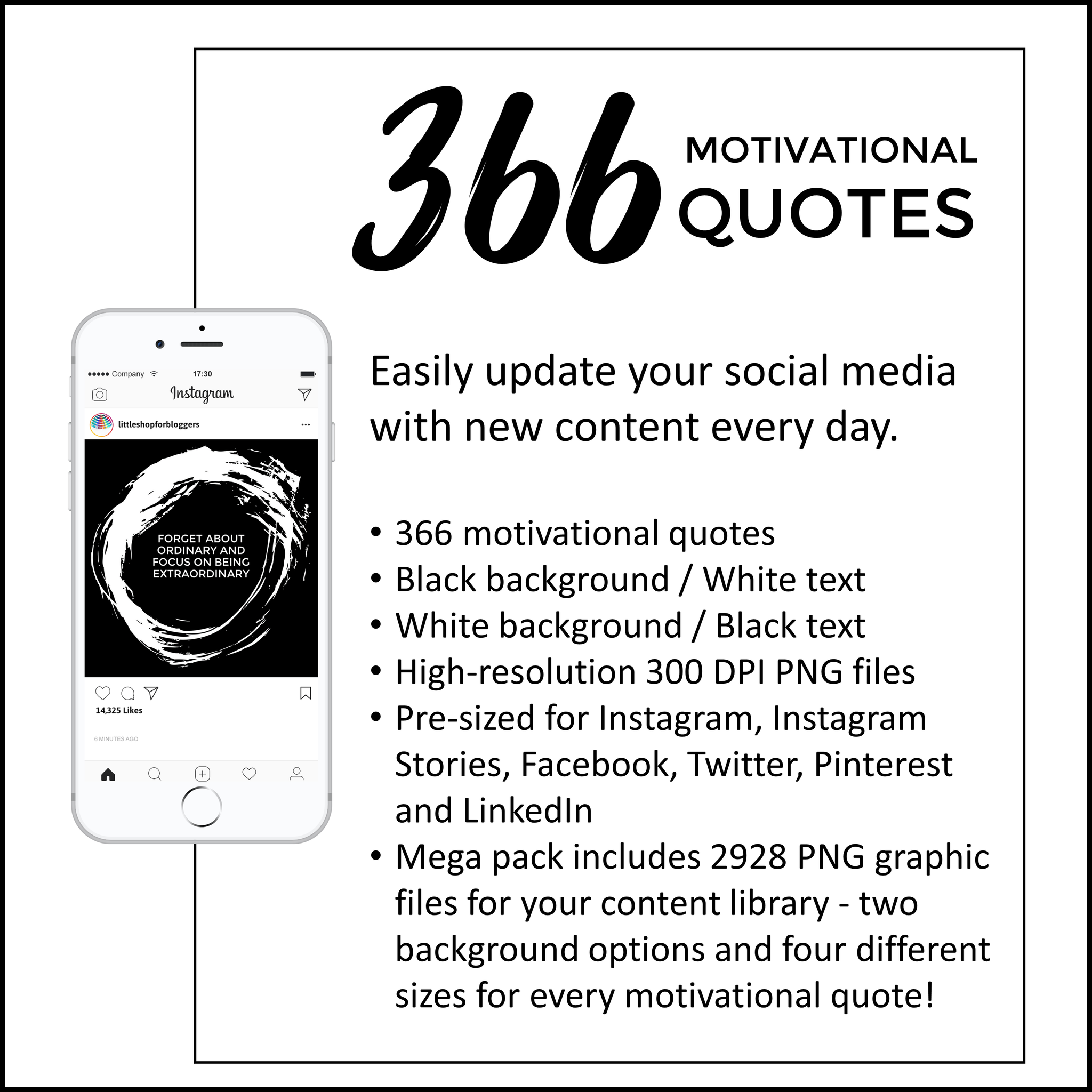 Social Media Motivational Quotes Brush Stroke Black And White