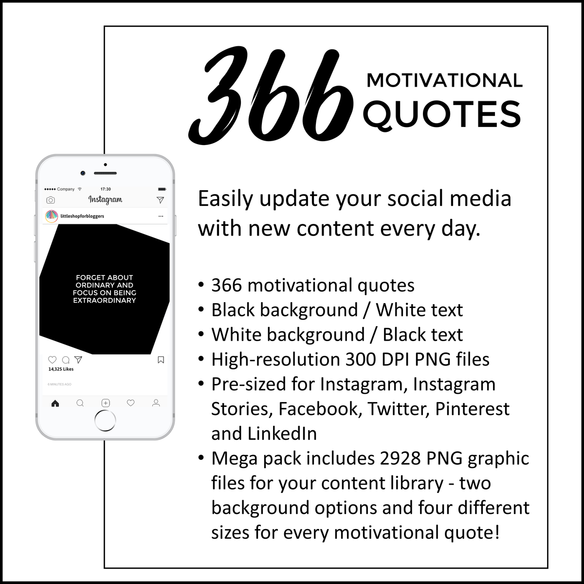 Social media motivational quotes note design black and white little shop for bloggers