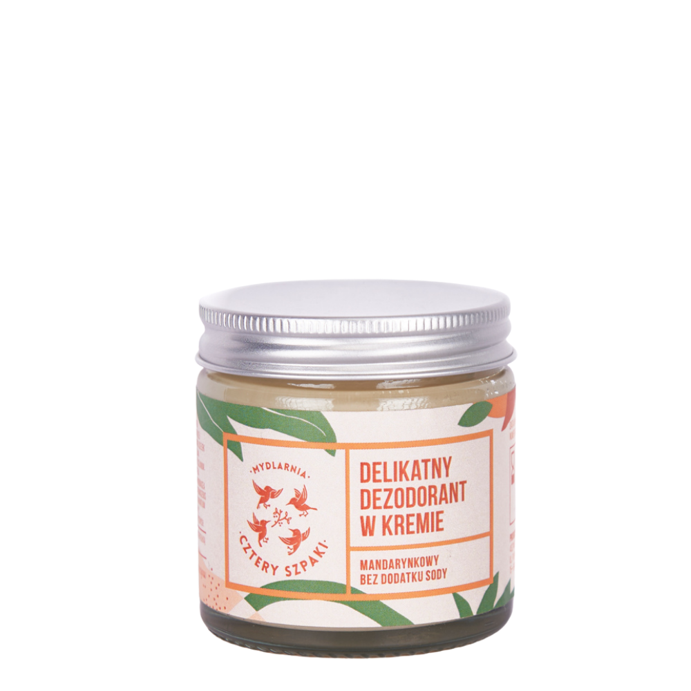 Delicate cream deodorant without soda- tangerine fragrance