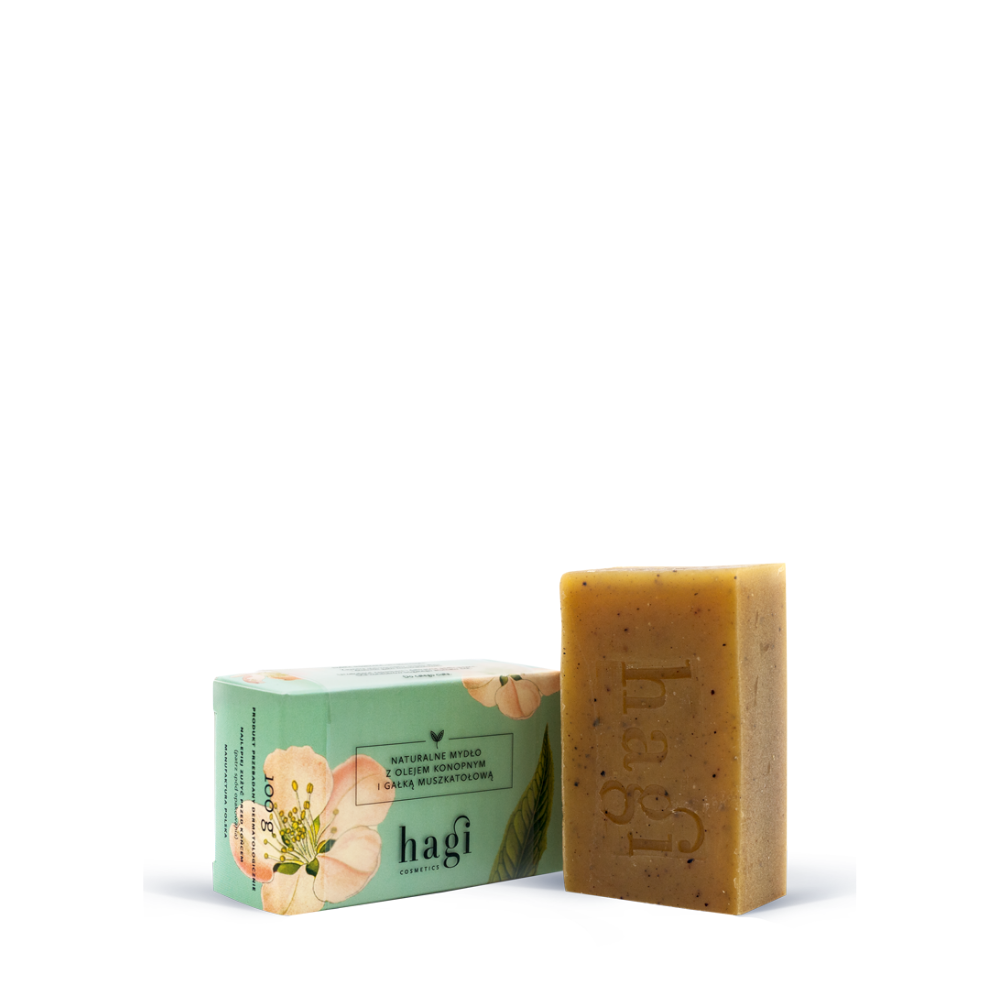 Natural soap with hemp oil and nutmeg