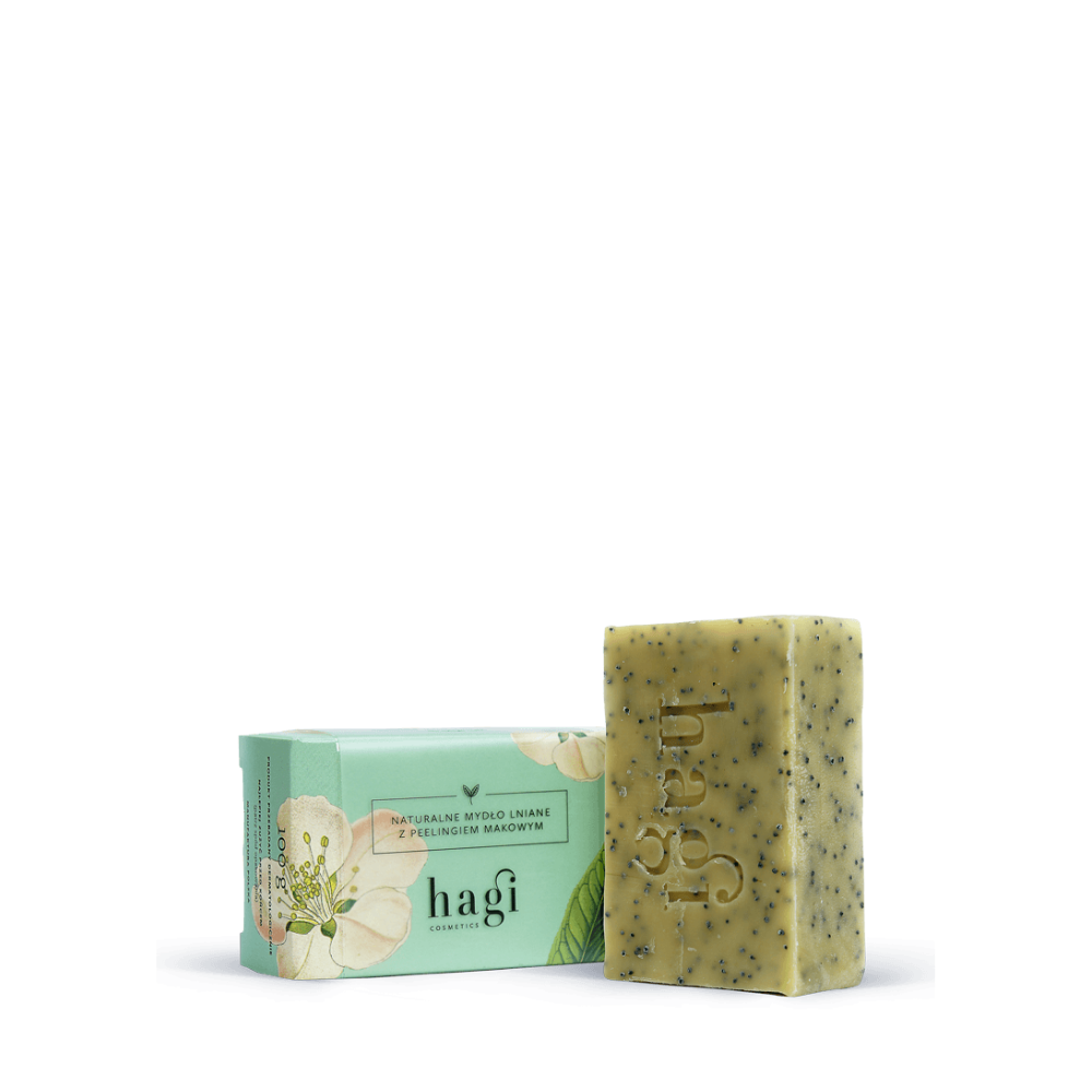 Natural soap with linseed oil and poppy seeds peeling