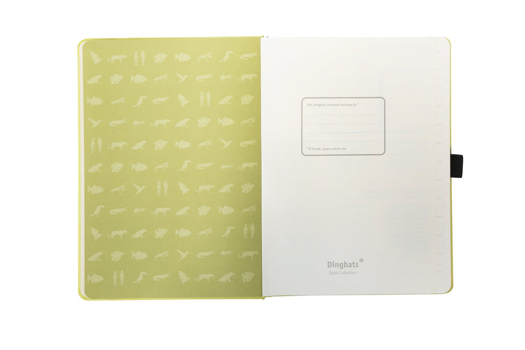 Dingbats* Earth Dotted A5 Notebook: Lime Yasuni - Grand Vision Pens UK