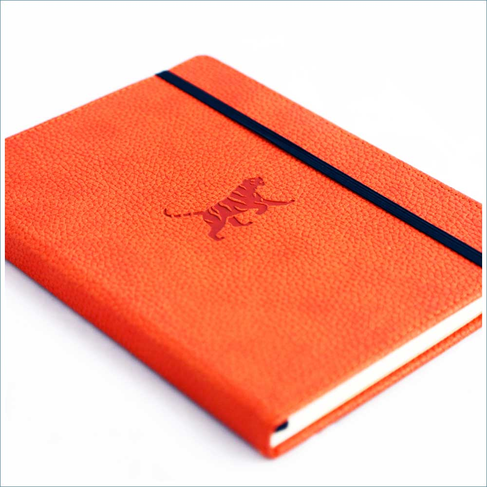 Dingbats* Wildlife Lined A5 Notebook: Orange Tiger - Grand Vision Pens UK