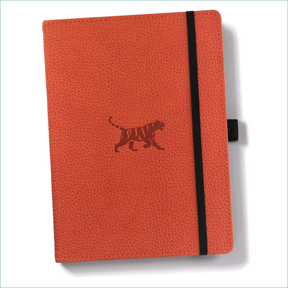 Dingbats* Wildlife Dotted A5 Notebook: Orange Tiger - Grand Vision Pens UK