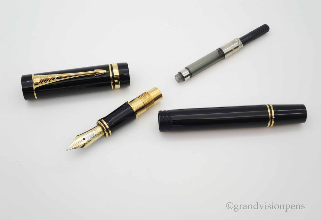 Parker Duofold Centennial Black with Gold Trim Fountain Pen 18k Gold Medium Nib (Near Mint) - Grand Vision Pens UK