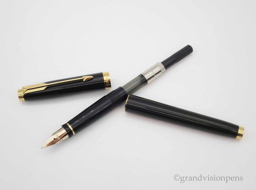 Parker 75 Fountain Pen, Pencil & Ballpoint Pen Triple Set Black Lacque with Gold Trim - Grand Vision Pens UK