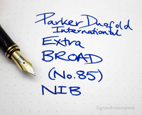 Parker Duofold International Sterling Silver Godron Fountain Pen 18k Extra Broad Nib - Grand Vision Pens