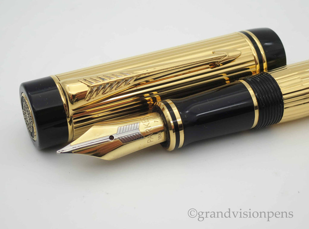 Boxed Parker Duofold Centennial Gold Plated Godron Fountain Pen 18k Gold Nib (Near Mint) - Grand Vision Pens
