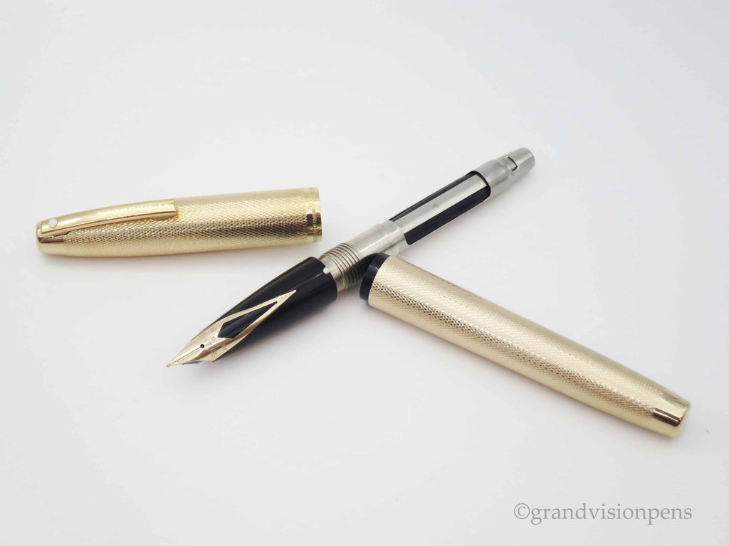 Vintage Sheaffer Imperial Electroplated Gold Aerometric Fountain Pen 14k Gold Nib (Serviced, Excellent Condition) - Grand Vision Pens