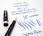 Vintage Conway Stewart No.27 Cracked Black Ice Fountain Pen 14k Flex Nib - Grand Vision Pens UK