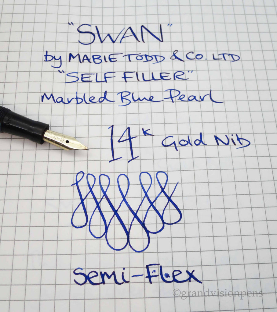 Vintage SWAN 'Self Filler' 6142 Fountain Pen by Mabie Todd & Co 14k Gold Semi Flex Nib (Serviced & Excellent ) - Grand Vision Pens UK