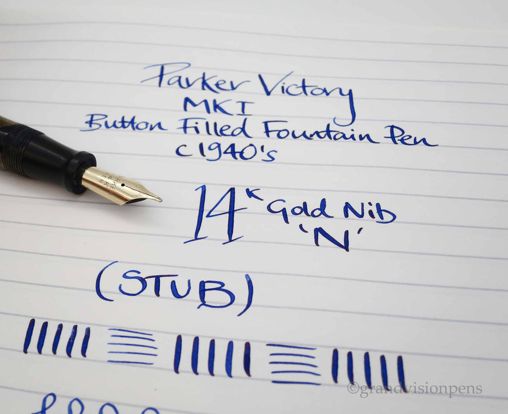 Vintage Parker Victory MKI Button Filled Fountain Pen 14k Gold STUB Flex Nib (Restored, Excellent) - Grand Vision Pens UK