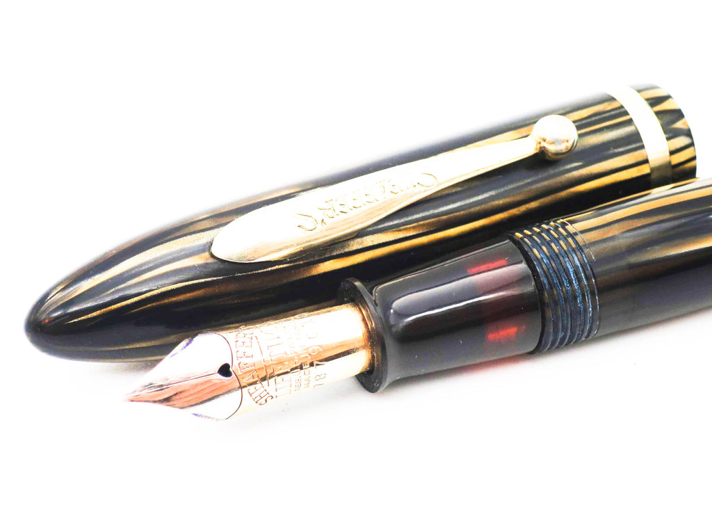 Vintage Sheaffer Lifetime Balance Fountain Pen & Pencil Set Golden Striated Pearl with Gold Trim (Restored, Near Mint Condition) - Grand Vision Pens UK