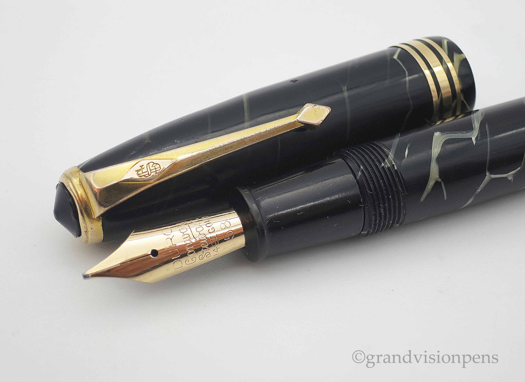 Vintage Conway Stewart No.58 Lever Filled Fountain Pen Black Cracked Ice Pattern 14k Gold Semi Flex Nib (Restored, Near Mint) - Grand Vision Pens UK