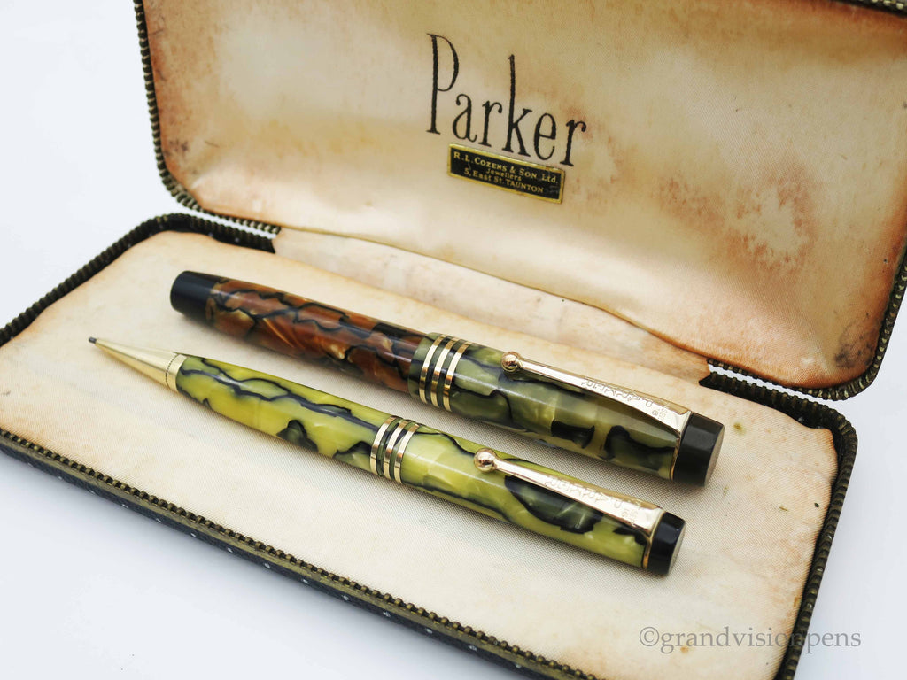 Boxed Parker Duofold Jr. Streamline Fountain Pen & Pencil Set Moderne Tortoiseshell Pearl - Restored & Excellent - Grand Vision Pens UK