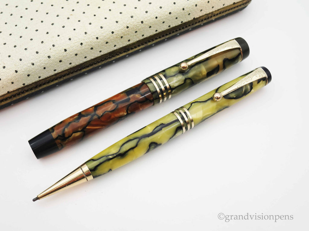 Boxed Parker Duofold Jr. Streamline Fountain Pen & Pencil Set Moderne Tortoiseshell Pearl - Restored & Excellent - Grand Vision Pens