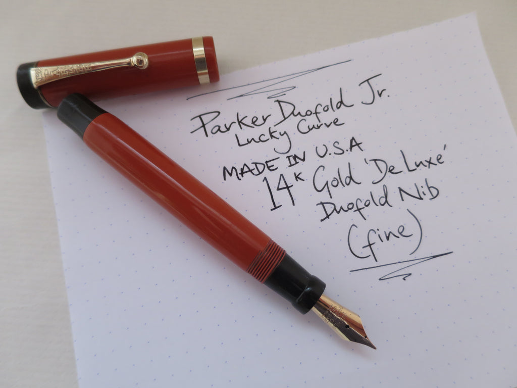 Vintage Parker Duofold Junior Lucky Curve Button Filled Fountain Pen Coral Red - Fine Nib (Serviced, Very Good Condition0 - Grand Vision Pens UK