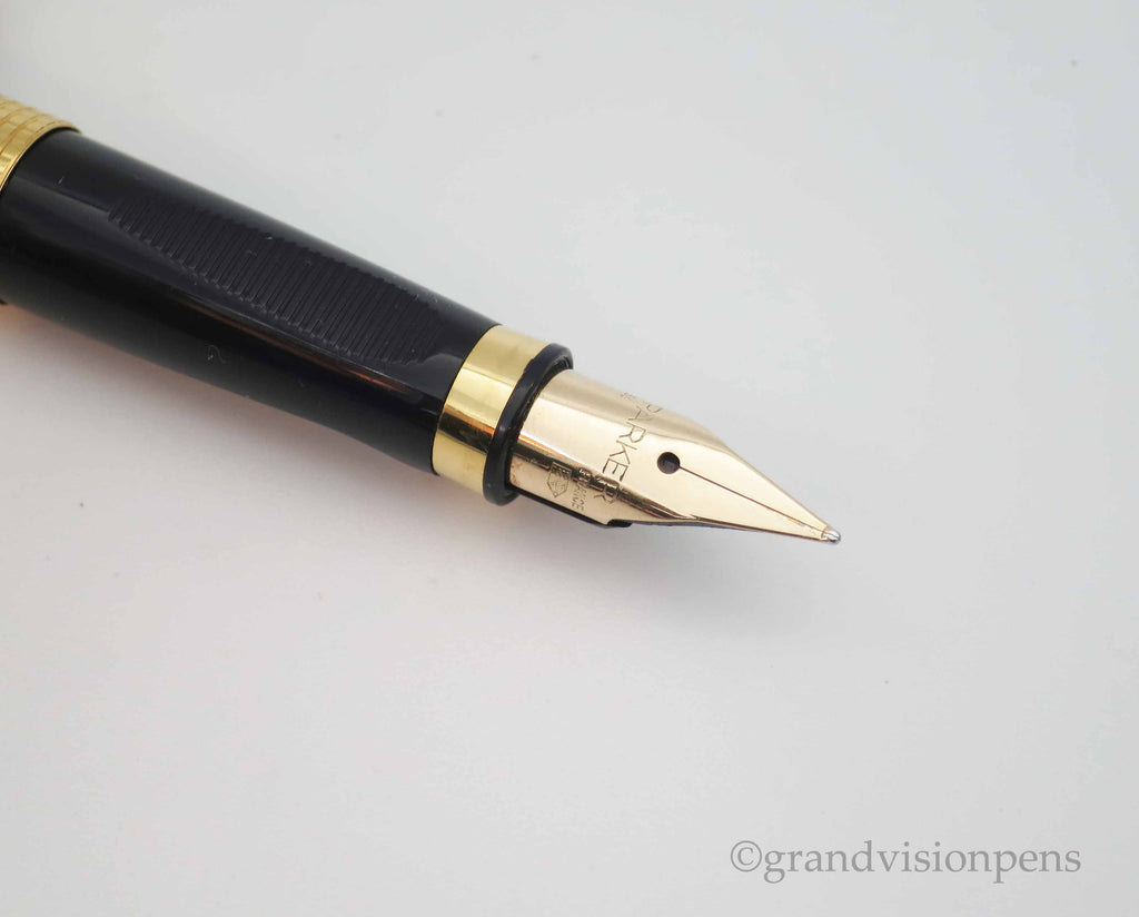 Parker 75 Gold Plated Ciselle Fountain Pen 14k Gold Medium Nib (Serviced, Near MINT Condition) - Grand Vision Pens UK
