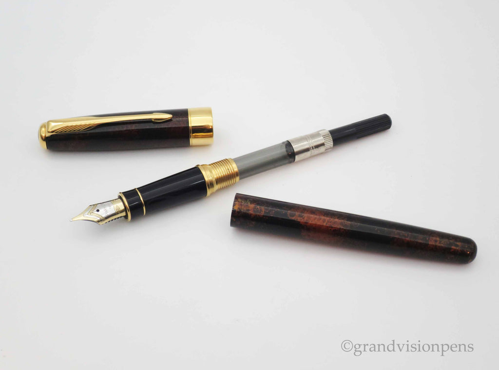 Parker Sonnet I Fountain Pen Chinese Laque Vision Fonce 18k Medium Nib (Near Mint Condition) - Grand Vision Pens UK