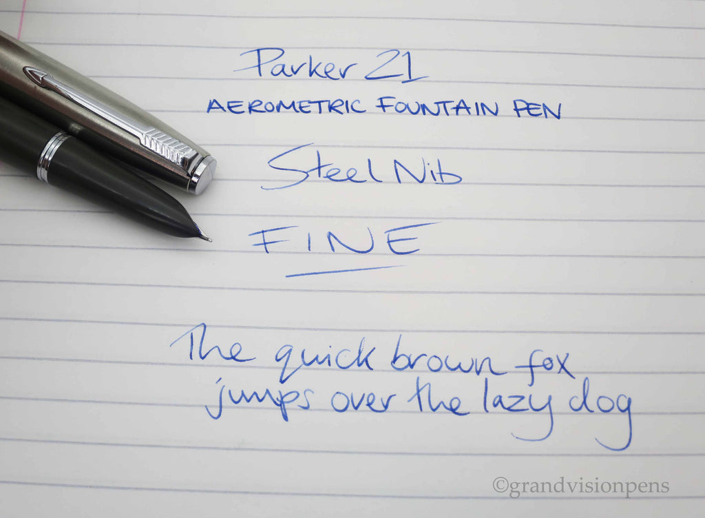 Vintage Grey Parker Super 21 Aerometric Fountain Pen FINE Nib - (Serviced, Very Good) - Grand Vision Pens UK