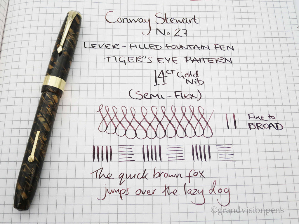 Rare Vintage Conway Stewart No.27 Fountain Pen Tiger's Eye Pattern 14k Gold Semi Flex Nib (Restored, Near MINT) - Grand Vision Pens UK