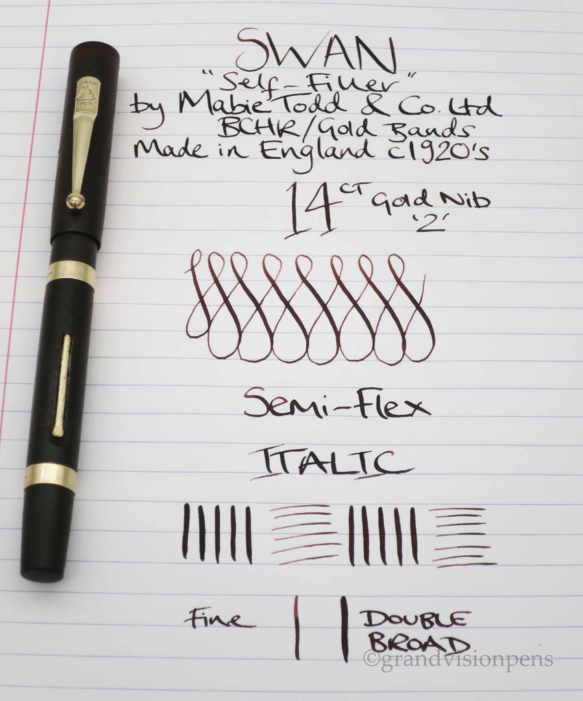 Vintage SWAN SF2 by Mabie Todd & Co Fountain Pen 14k Gold ITALIC Semi Flex Nib (Serviced, Excellent) - Grand Vision Pens UK