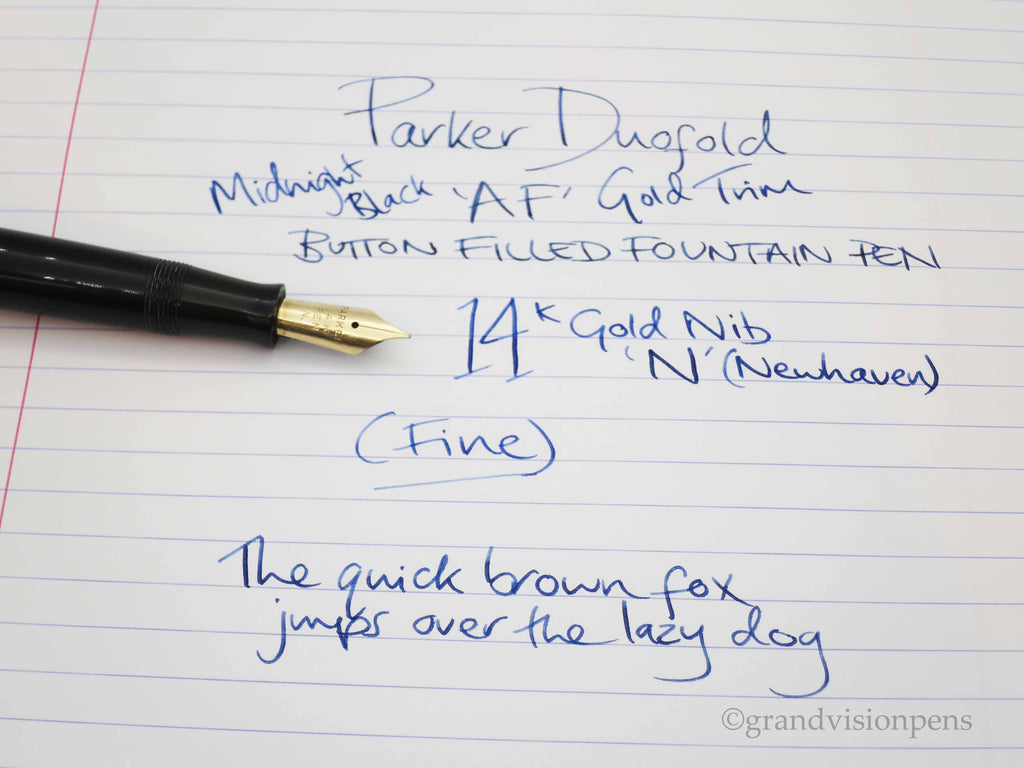 Vintage Parker Duofold 'AF' Fountain Pen Midnight Black 14k Gold FINE Nib (Restored, Near Mint) - Grand Vision Pens