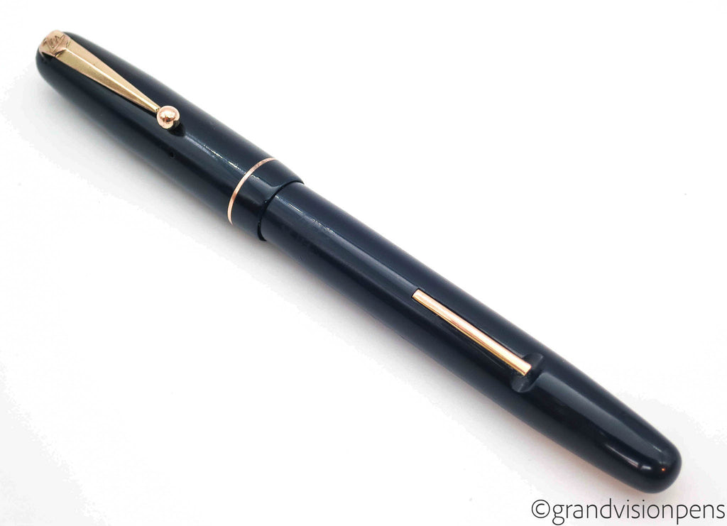 Vintage SWAN Self Filler No.3120 Deep Blue Lever Filled Fountain Pen by Mabie Todd & Co. 14k Gold Semi Flex Nib (Serviced, Very Good) - Grand Vision Pens