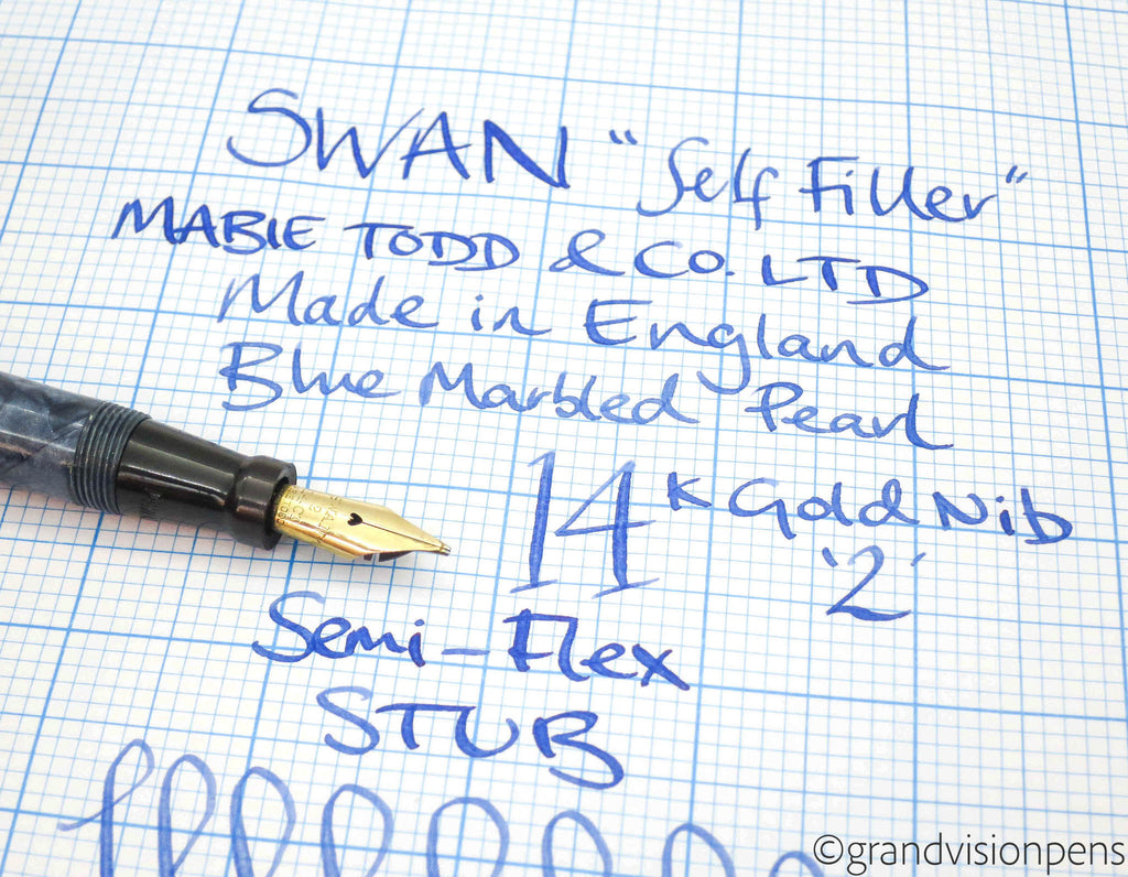 Vintage SWAN Self Filler by Mabie Todd Baby Lever Filled Fountain Pen 14k Gold Flex STUB Nib (Serviced, Very Good) - Grand Vision Pens UK