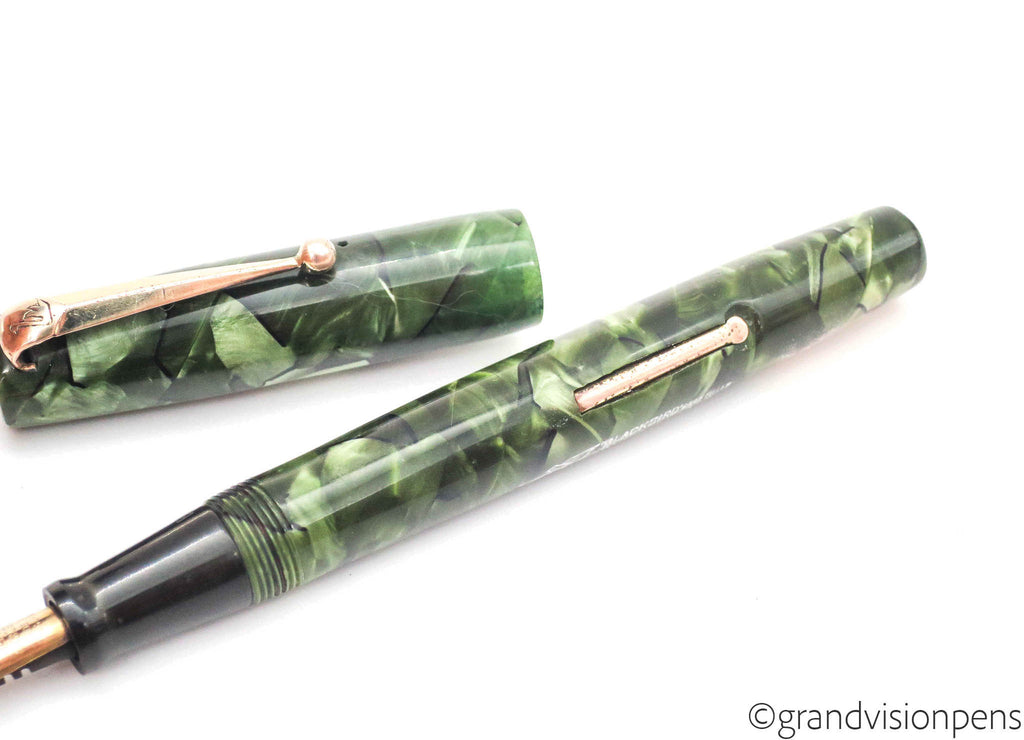 Vintage BLACKBIRD Self Filler Fountain Pen by Mabie Todd & Co. Ltd Green Marbled Pearl 14k Gold (F) Nib - (Serviced, Very Good) - Grand Vision Pens UK