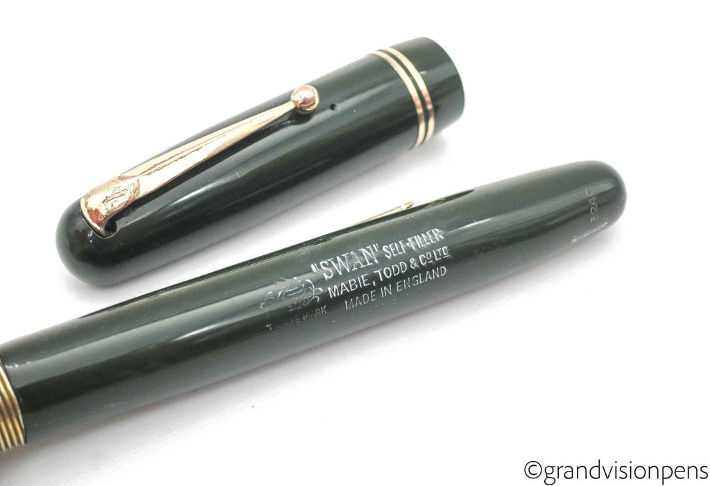Vintage SWAN 'Self Filler' Olive Green Fountain Pen by Mabie Todd & Co. No.3240 14k Gold ITALIC Nib (Serviced, Very Good) - Grand Vision Pens