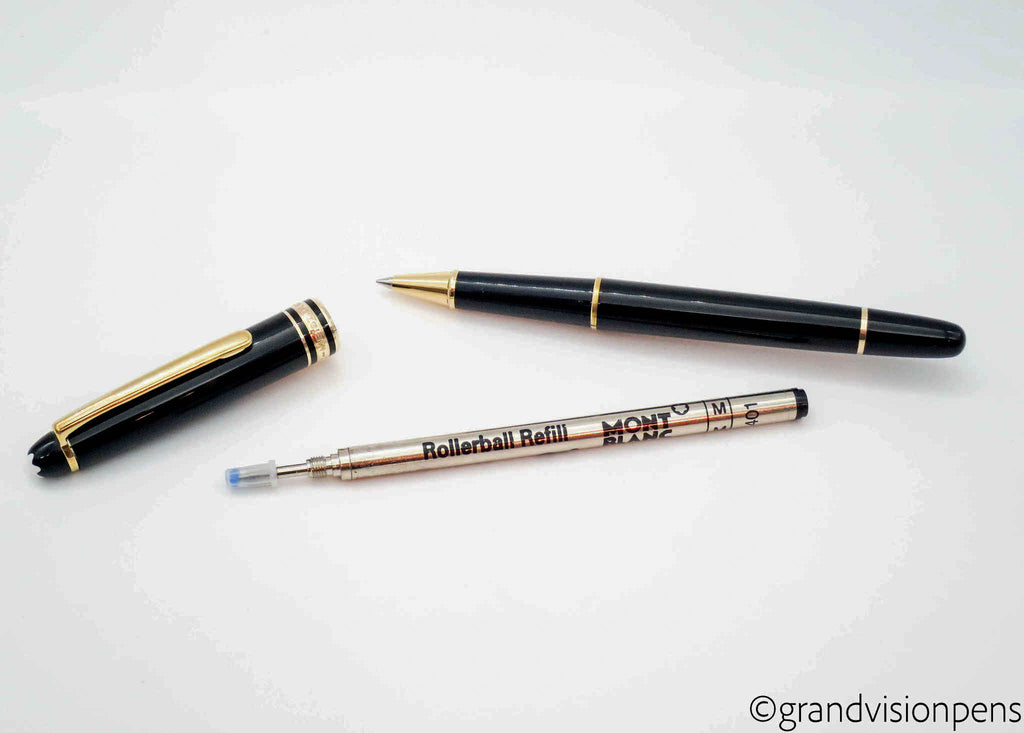 Montblanc Meisterstück Classique 163 Midnight Black / Gold Trim Rollerball Pen (Excellent Condition) - Grand Vision Pens