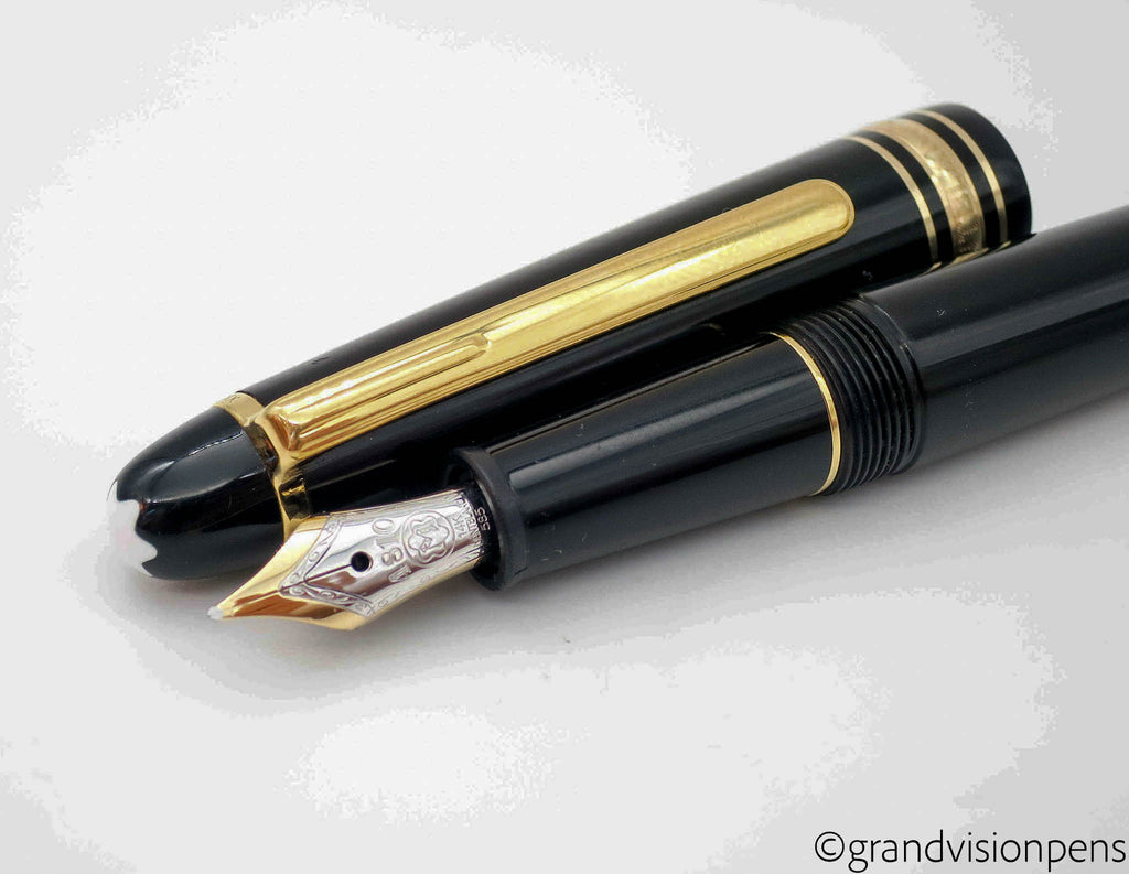 Black Montblanc Meisterstück Classique Fountain Pen with Piston Ink Converter - Excellent - Grand Vision Pens UK