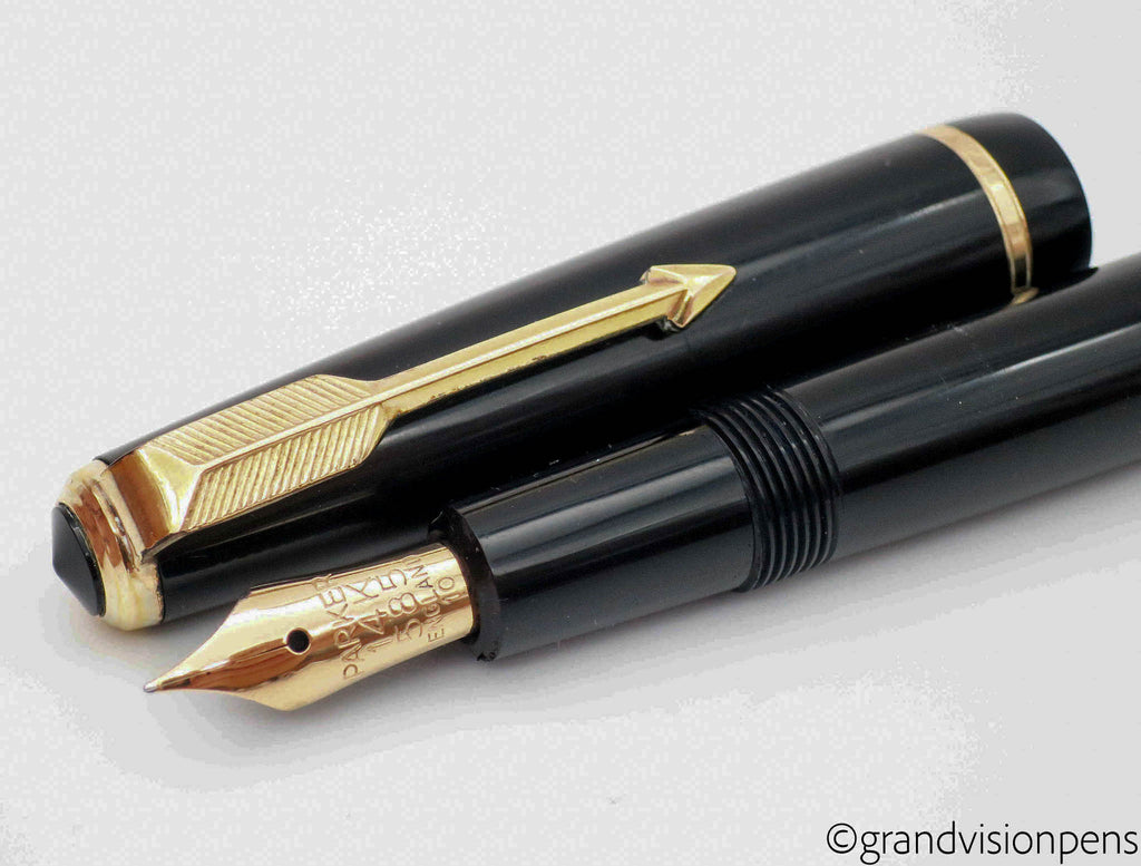 Vintage Parker Duofold Midnight Black Gold Trim Aerometric Fountain Pen 14k Gold FINE Nib (Serviced, Excellent) - Grand Vision Pens UK