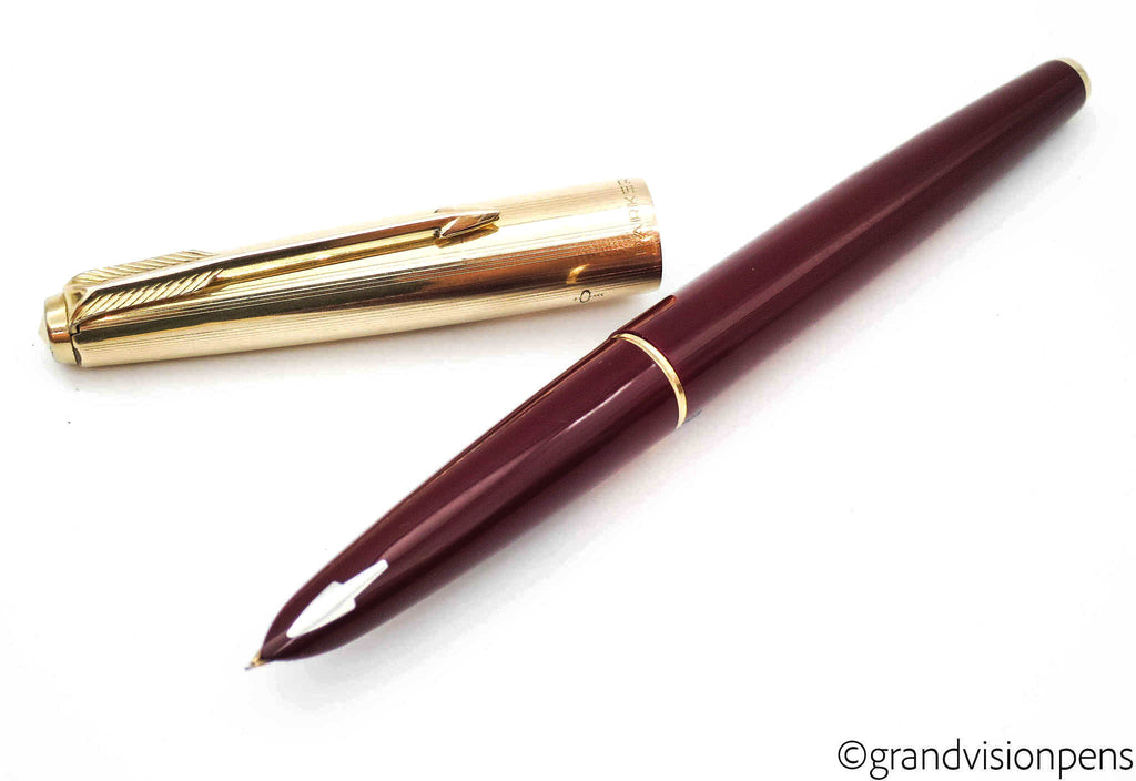 "Parker 61 ""Custom"" Fountain Pen & Propelling Pencil Set Burgundy & Rolled Gold (Serviced, Excellent) - Grand Vision Pens UK"