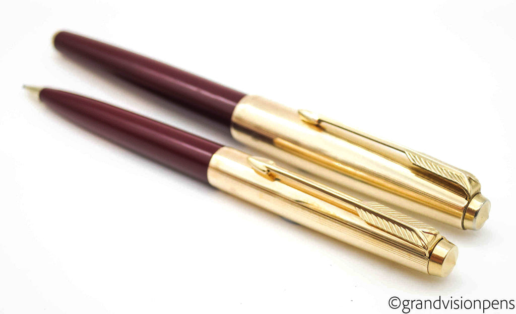 Vintage Parker 61 Fountain Pen & Pencil Set Burgundy & Rolled Gold Caps (Serviced & Excellent) - Grand Vision Pens UK