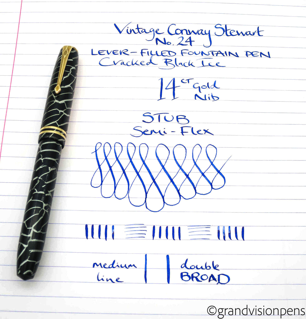 Vintage Conway Stewart No.24 Cracked Black Ice Lever Filled Fountain Pen 14k Gold Flex Stub Nib (Restored, Near Mint) - Grand Vision Pens UK