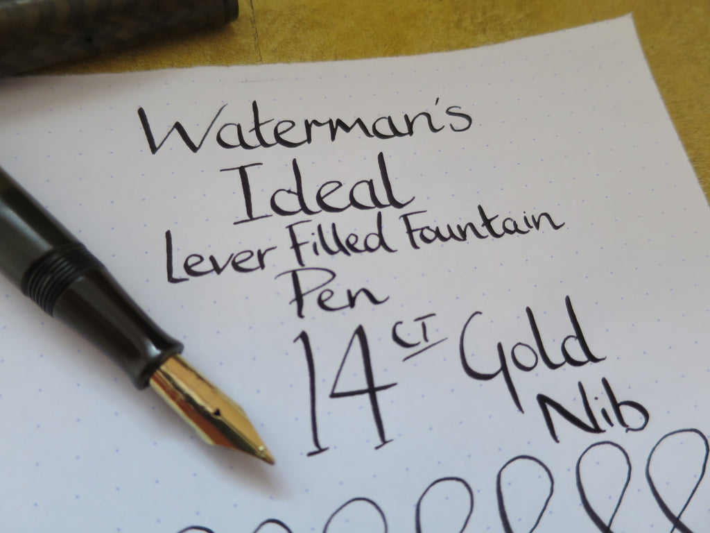 Antique Waterman's Ideal Lever Filled Fountain Pen - 14k Gold Semi Flex Ideal Nib (Serviced) - Grand Vision Pens UK