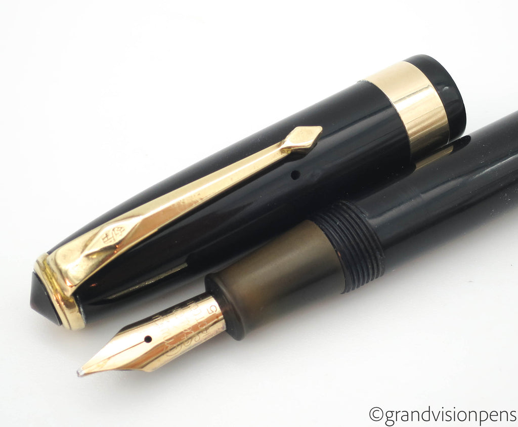 Vintage Conway Stewart No.27 Lever Filled Fountain Pen 14k Gold Stub Nib (Serviced, Very Good) - Grand Vision Pens UK