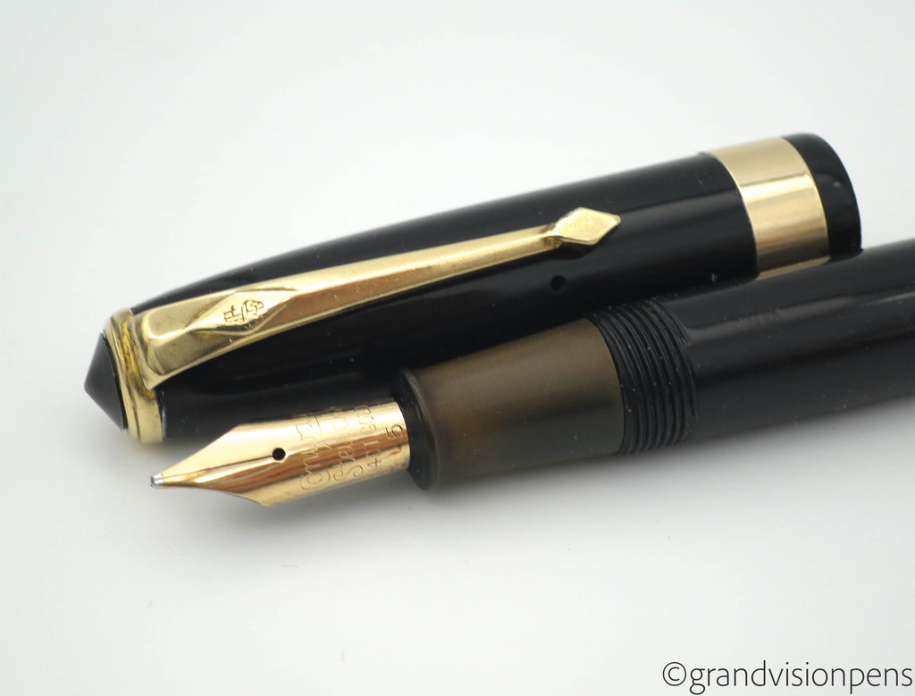Vintage Conway Stewart No.27 Lever Filled Fountain Pen Midnight Black 14k Gold STUB Nib (Serviced, Very Good) - Grand Vision Pens
