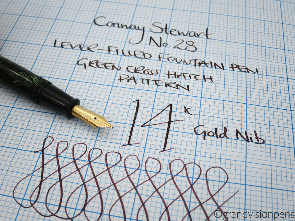 Vintage Conway Stewart No.28 Lever Filled Fountain Pen 14k Gold Semi Flex Nib - Grand Vision Pens UK