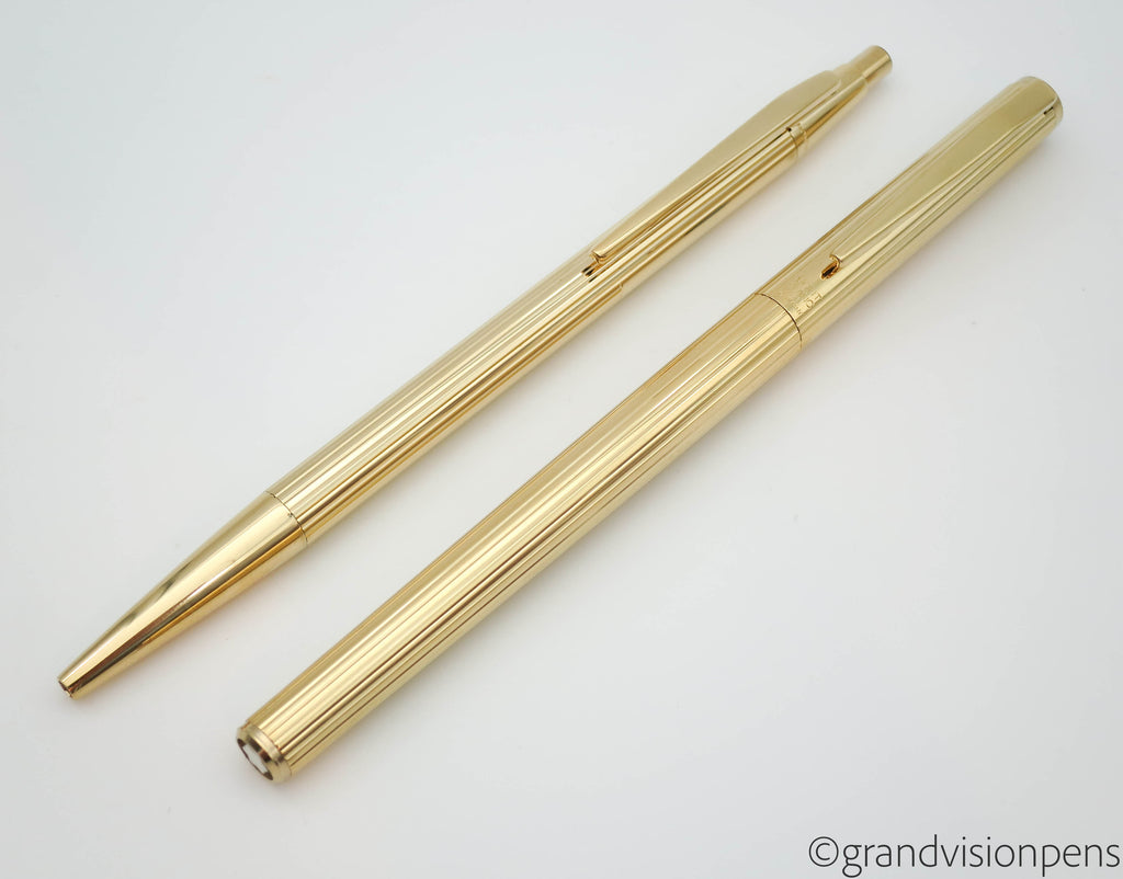 Vintage MONT BLANC Noblesse Fountain Pen & Ballpoint Set Rolled Gold (Serviced & Excellent) - Grand Vision Pens UK