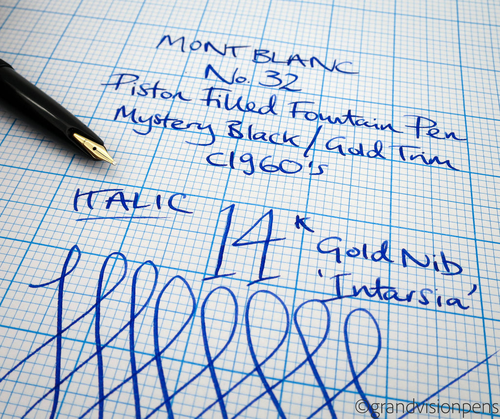 Vintage Mont Blanc No.32 Converter Filled Fountain Pen 14k Gold Italic Nib (Restored, Near Mint) - Grand Vision Pens