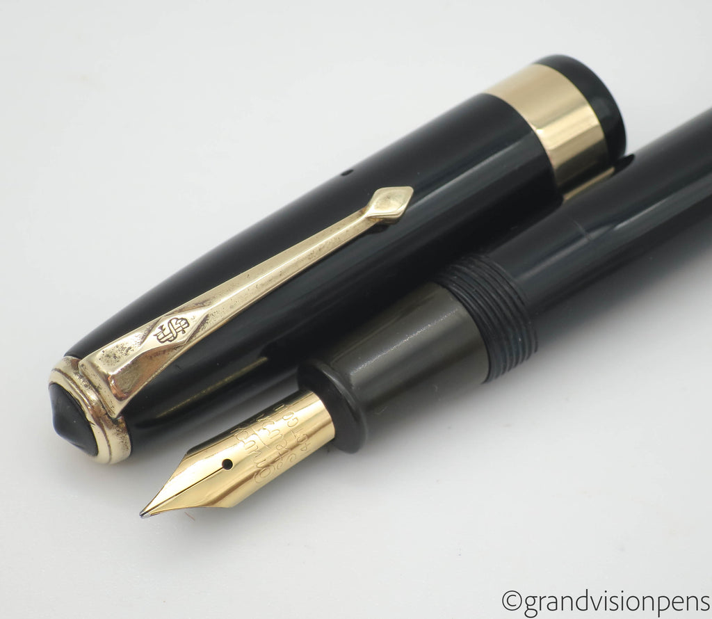 Vintage Conway Stewart No.27 Fountain Pen 14k Gold Fine Nib (Restored, Near Mint) - Grand Vision Pens UK