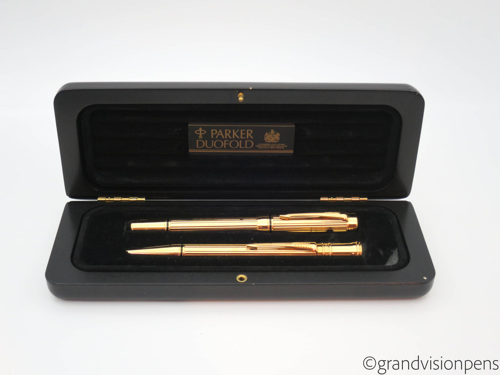 Rare Boxed Retail Sample Parker Duofold Centennial Fountain Pen & Ballpoint Pen Set (Near Mint) - Grand Vision Pens UK
